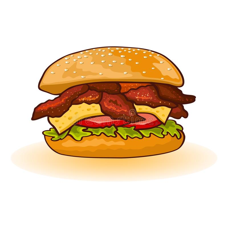 Chicken or bacon burger including slices of meat, cheese, lettuce, tomato, sauce in fresh toasted bun. stock illustration