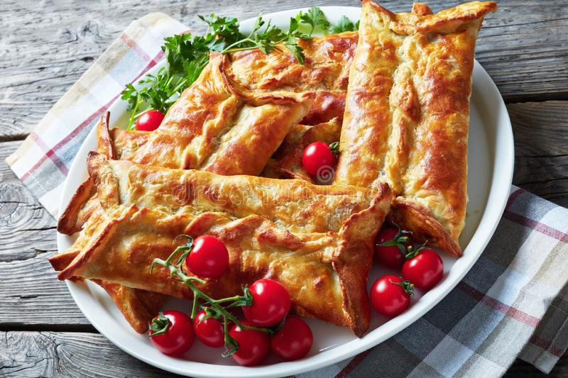 Chicken and baje sauce Stuffed Puff Pastry Borek. Chicken and ground walnut Stuffed Puff Pastry Borek,  Baked Chicken Pies, Puff Pastry Chicken Bundles on a royalty free stock image
