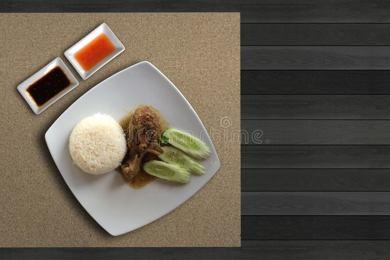 Chicken Bake with rice. Top view of Delicious and simple Thai Food name Chicken Bake with rice stock images