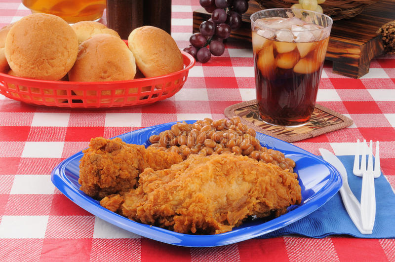Chicken and baked beans picnic lunch royalty free stock photography