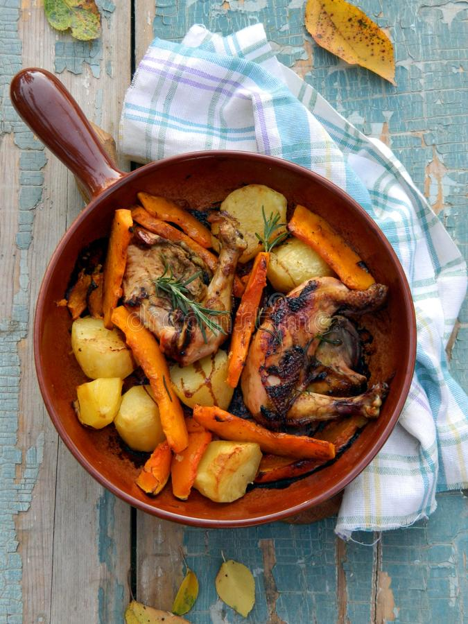 Download Chicken Baked With Potato And Pumpkin Stock Photo - Image of rosemary, chicken: 26847894