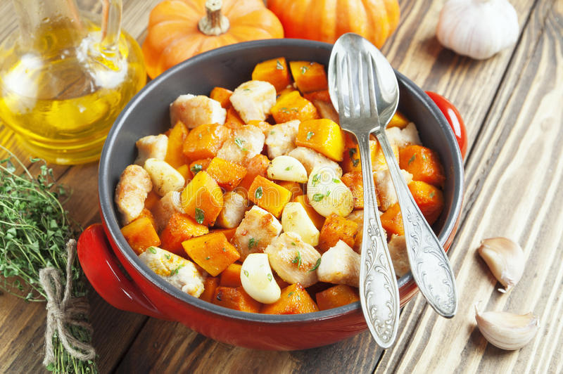 Download Chicken baked with pumpkin stock image. Image of fillet - 37112849