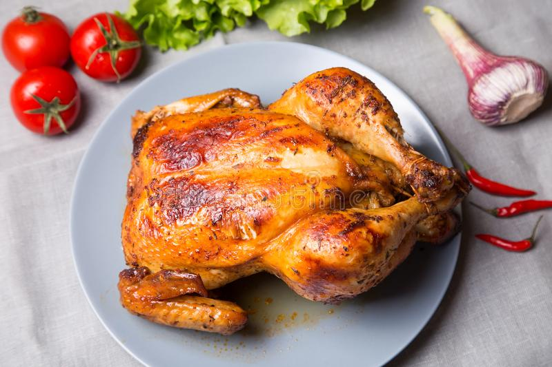Chicken baked whole. royalty free stock image