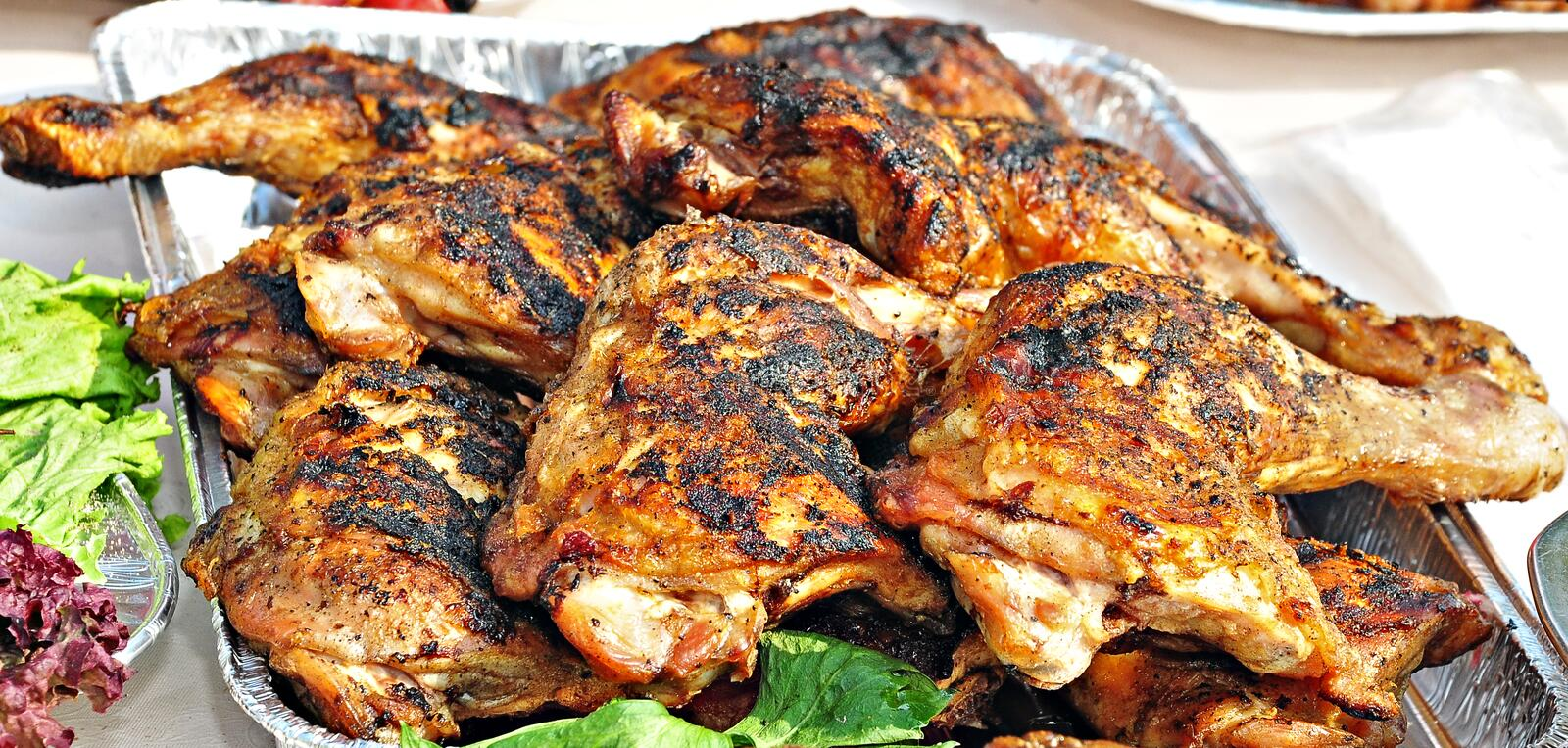Chicken barbecue. On a plateau stock photo