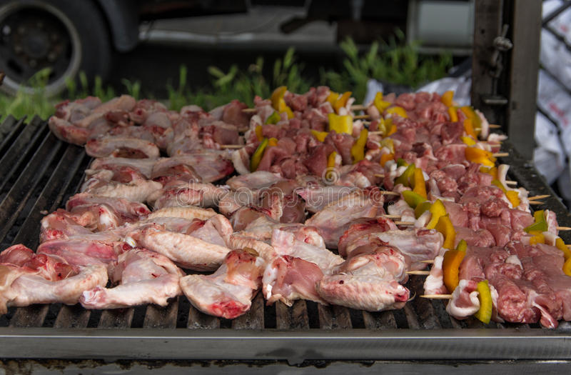 Chicken barbecue. Aerial dolly shot on chicken barbecue royalty free stock images