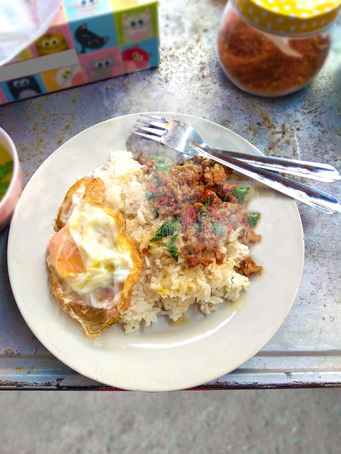 Chicken basil rice with fried egg royalty free stock images