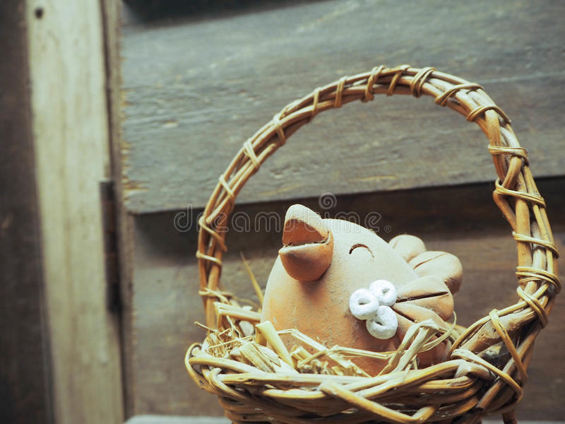 Chicken in the basket stock photography