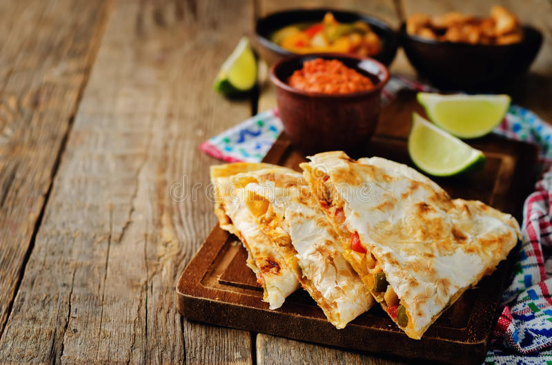 Chicken Bell pepper quesadilla stock images