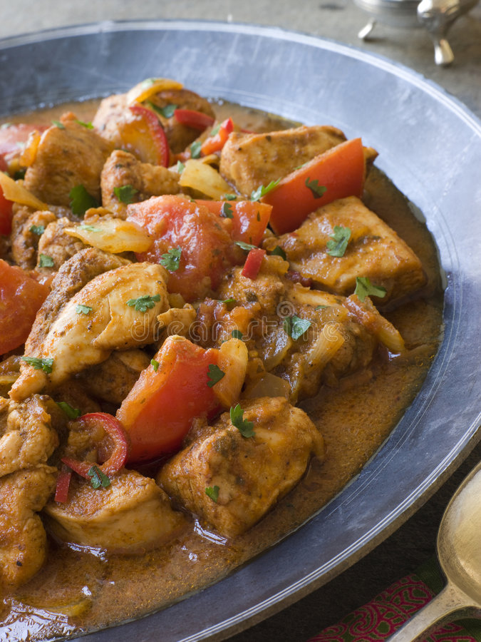 Chicken Bhoona in a Pewter dish royalty free stock photo