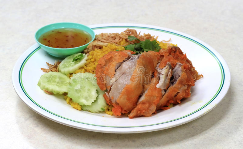 Chicken Biryani with green chutney royalty free stock photo