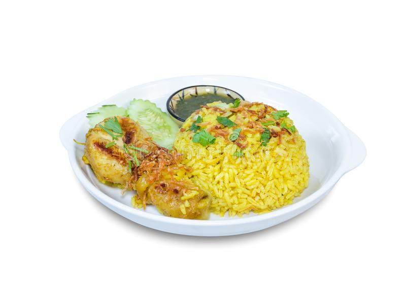 Chicken Biryani isolated on white background,clipping path.  stock photography