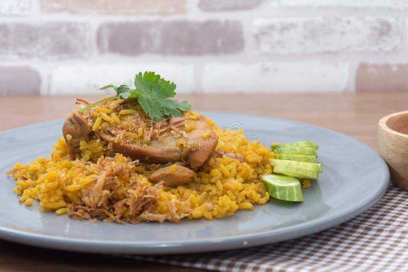 Chicken Biryani with rice and sauce. Halal food Khao Mok Gai stock images