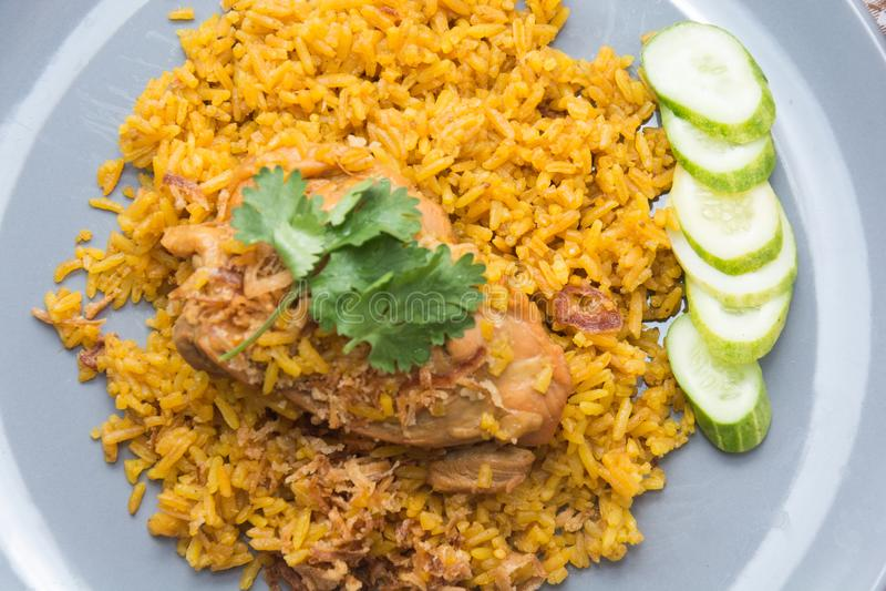 Chicken Biryani with rice and sauce. Halal food Khao Mok Gai stock photo