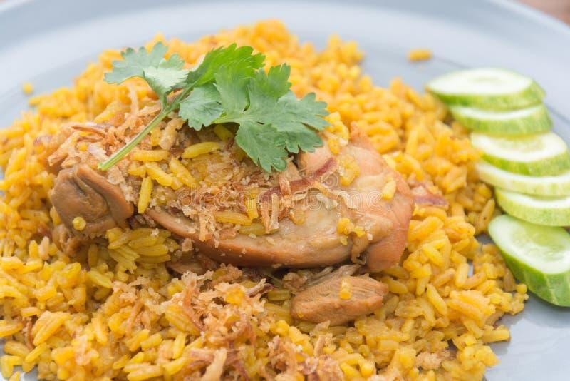 Chicken Biryani with rice and sauce. Halal food Khao Mok Gai royalty free stock photos