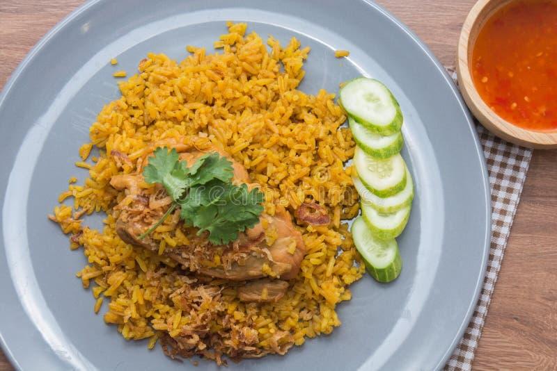 Chicken Biryani with rice and sauce. Halal food Khao Mok Gai stock photos
