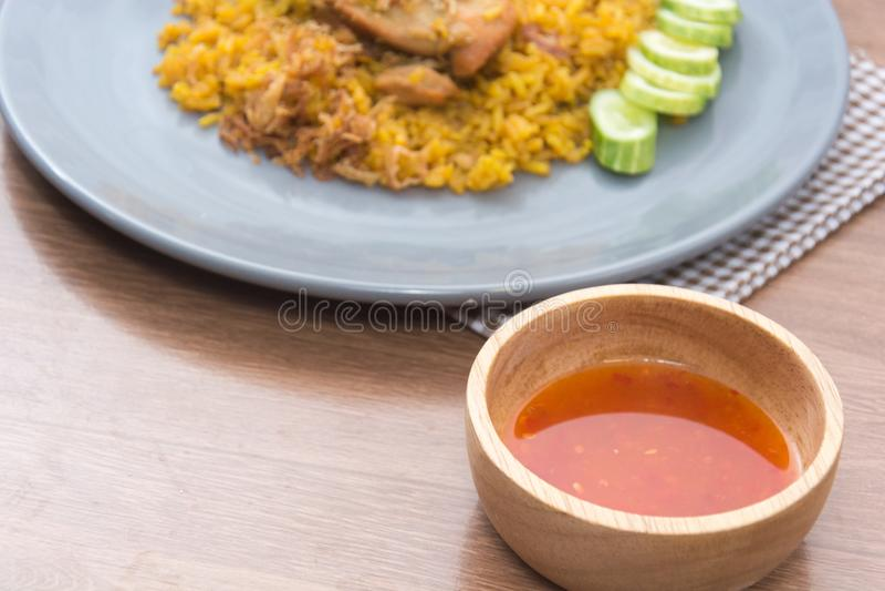 Chicken Biryani with rice and sauce. Halal food Khao Mok Gai stock photography