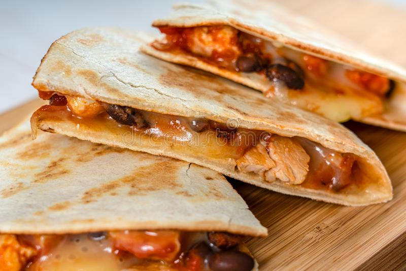 Chicken And Black Beans Quesadillas, Cheese And Salsa stock photos