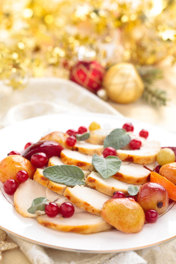 Chicken breast. Border of baked chicken breast with baked fruits, sage and spices on plate stock photos