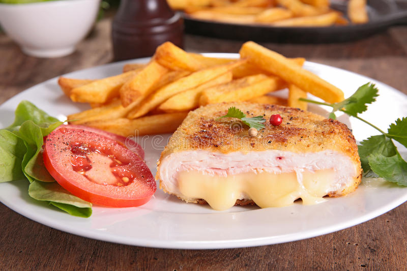 Chicken breast with cheese stock photo