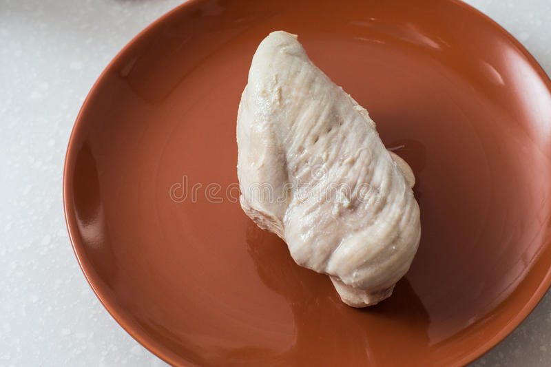 Chicken breast cooked. On the plate healthy eating stock photography
