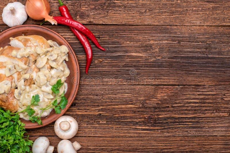 Chicken breast in creamy mushroom sauce. stock photo