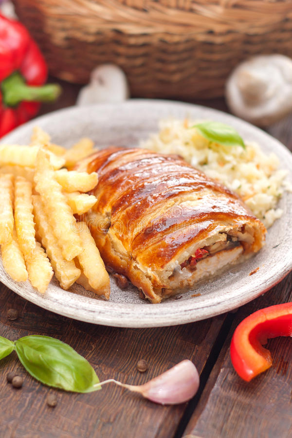 Chicken breast in a French pastry. stock photos