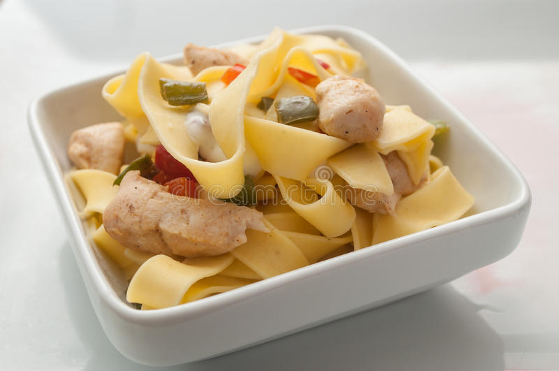 Chicken breast pasta with red and green peppers in a stock image