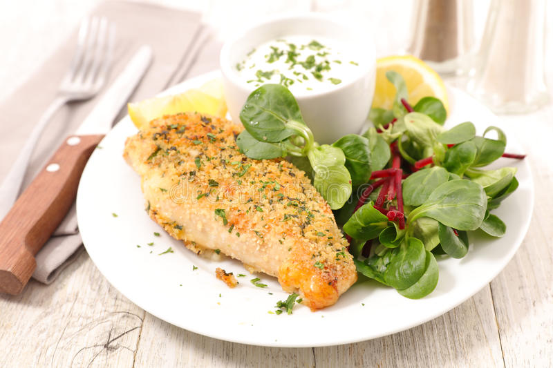 Chicken breast and sauce stock photography