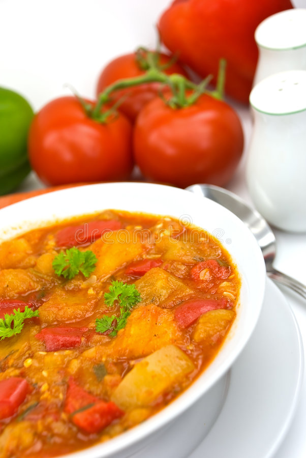 Chicken breast soup-stew- with mixed vegetable an. D red bell pepper royalty free stock photos