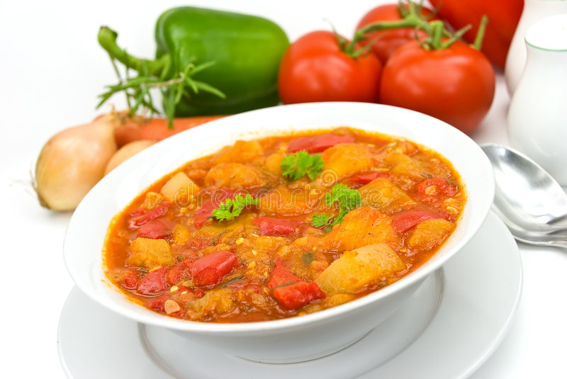 Chicken breast soup-stew- with mixed vegetable an. D red bell pepper stock photo