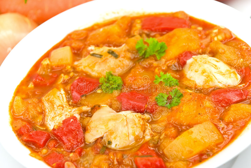 Chicken breast soup-stew- with mixed vegetable an. D red bell pepper stock photos