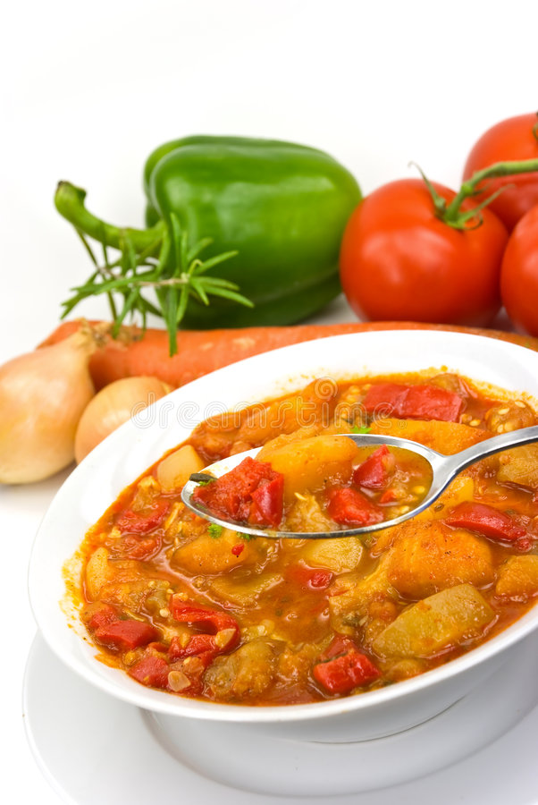 Chicken breast soup-stew- with mixed vegetable an. D red bell pepper stock photography