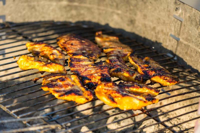 Chicken breast steak placed on the hot grill. Bbq meat on fire, summer weather, grill party with friends stock photos