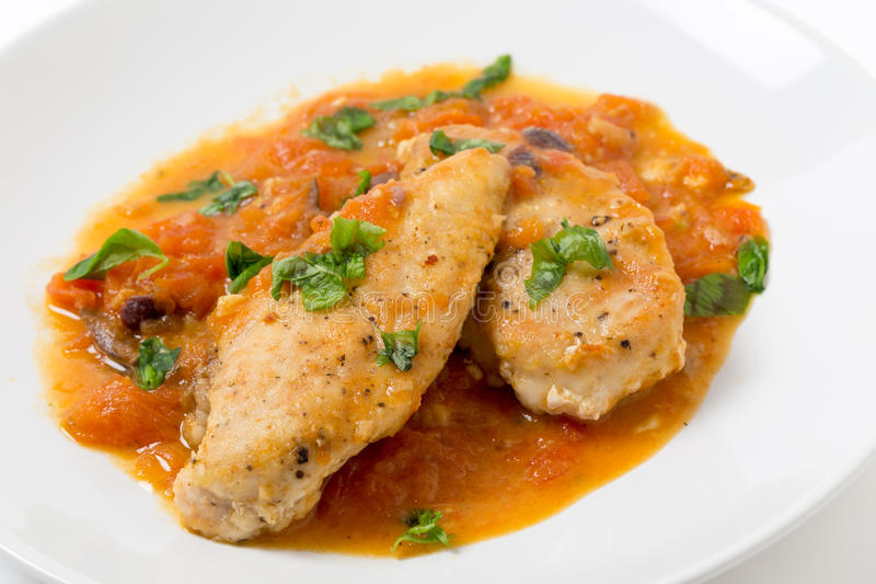 Chicken breasts provencal closeup royalty free stock images