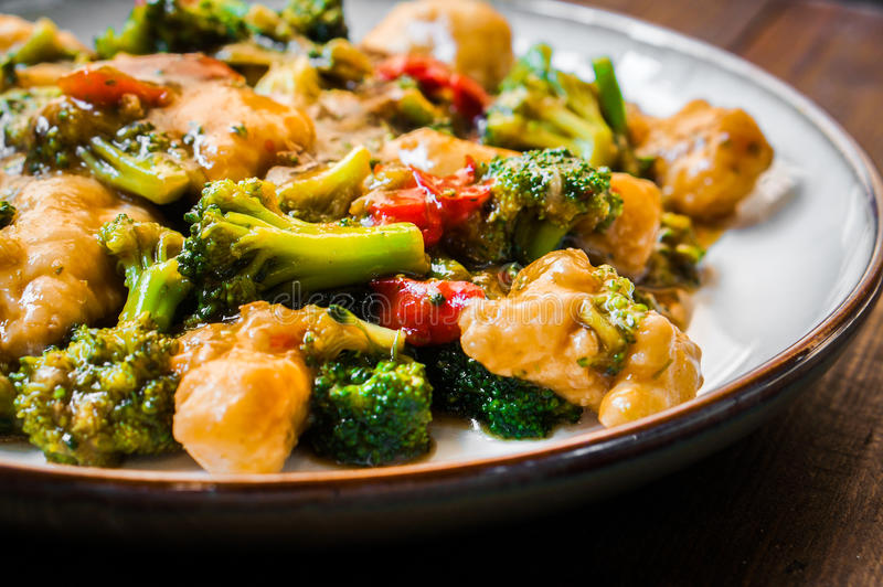 Chicken breasts in soy sauce and stir-fry vegetables royalty free stock photos