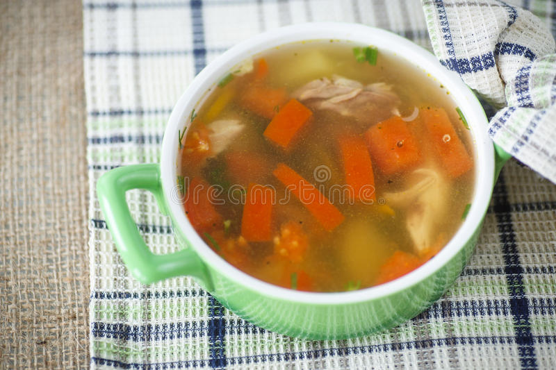 Chicken broth cooked with vegetables royalty free stock images