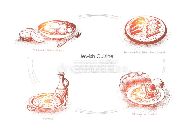 Chicken broth and matzo, forshmak from fish on black bread, hummus, tsimmers and challah, jewish cuisine banner. Chicken broth and matzo, forshmak from fish on royalty free illustration