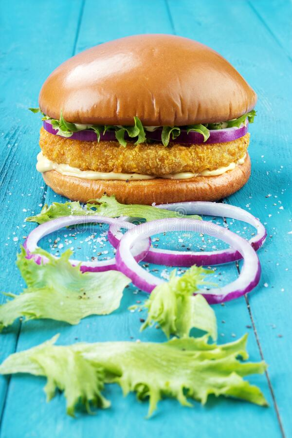 Chicken burger with onions stock images