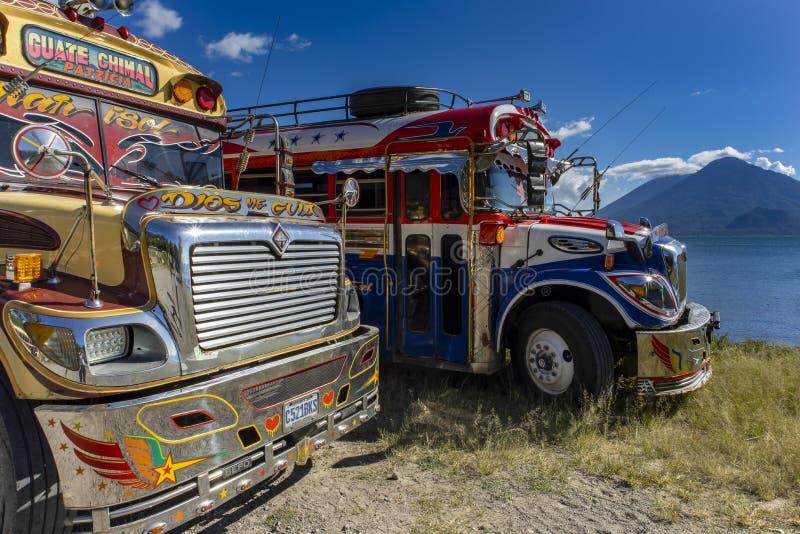 Chicken bus at lake atitlan royalty free stock photography