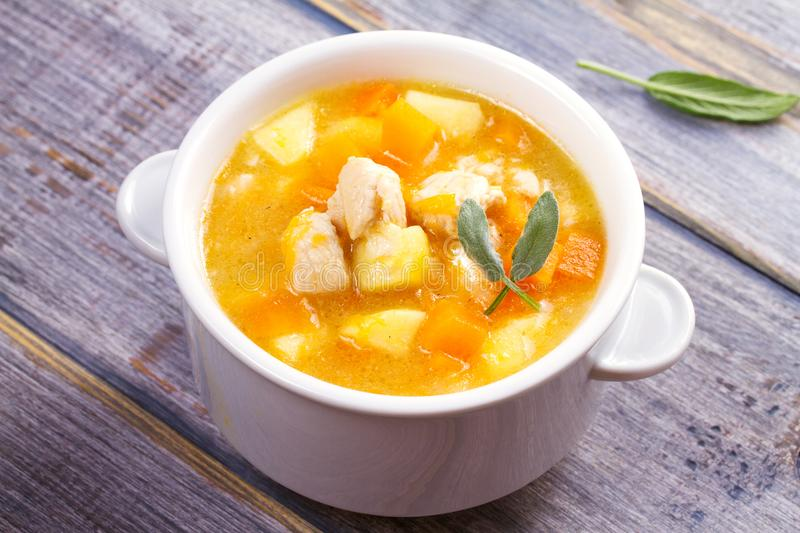 Chicken, butternut, apple ginger and sage stew. Pumpkin and chicken breast soup. Chicken, butternut, apple ginger and sage stew. Pumpkin and chicken breast soup stock images