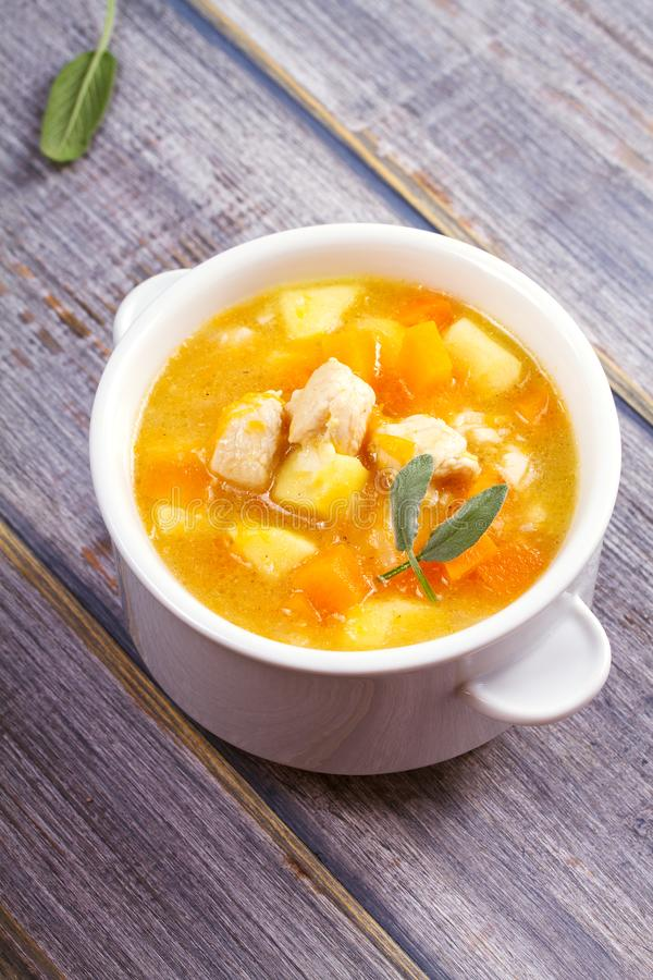 Chicken, butternut, apple ginger and sage stew. Pumpkin and chicken breast soup. Chicken, butternut, apple ginger and sage stew. Pumpkin and chicken breast soup royalty free stock images