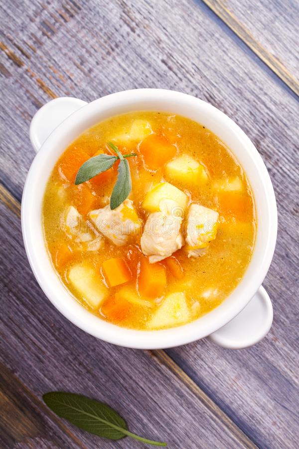 Chicken, butternut, apple ginger and sage stew. Pumpkin and chicken breast soup. View from above, top shot, vertical stock photography