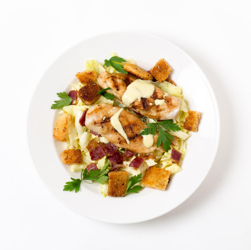 Chicken caesar salad from above royalty free stock images
