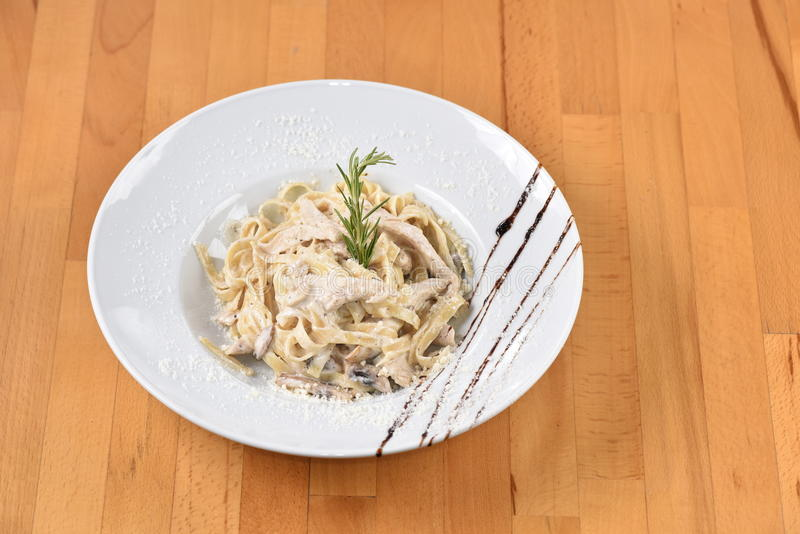 Chicken Carbonara Pasta. With special sauces and spices royalty free stock image