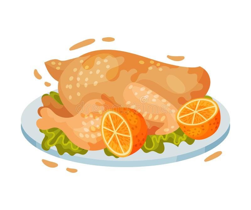 Chicken carcass on a plate. Vector illustration on a white background. Chicken carcass in sauce on a plate and leaf lettuce with lemon. Vector illustration on a stock illustration
