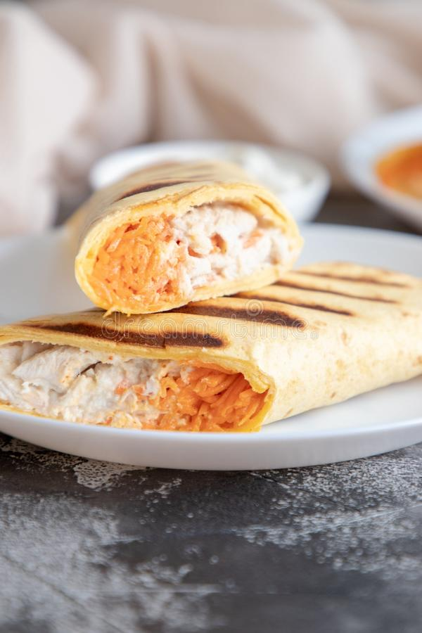Chicken and carrot roll ups. Home made chicken and carrot roll ups for healthy breakfast or lunch royalty free stock photos