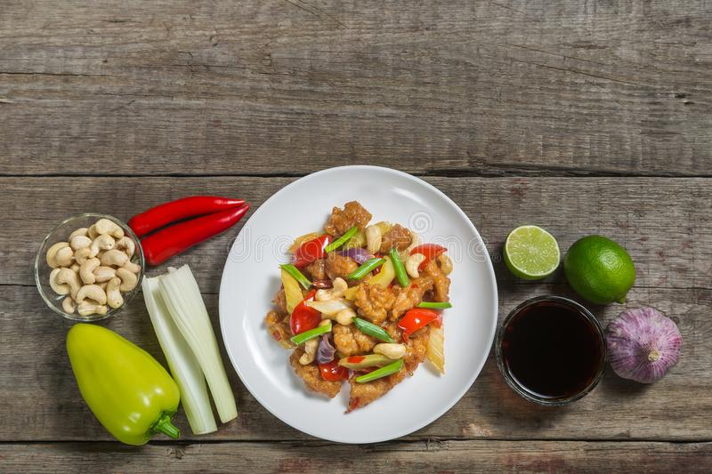 Chicken with cashew nuts. The national dish of Thai cuisine. The view from the top. Copy-space. royalty free stock photography