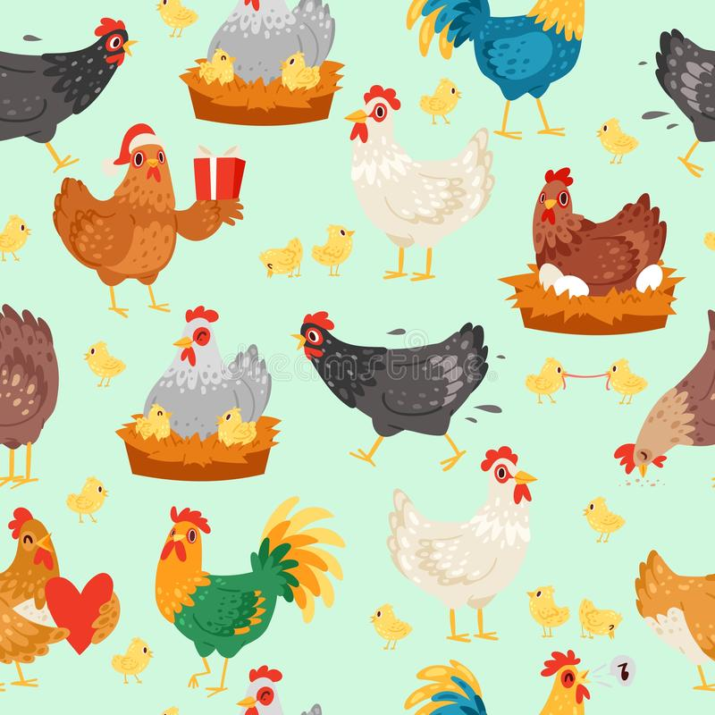 Chicken characters in different poses. Hen and rooster seamless pattern vector flat illustration. Cute and funny egg royalty free illustration