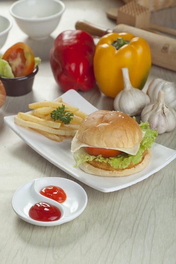 Chicken cheese burger stock photos