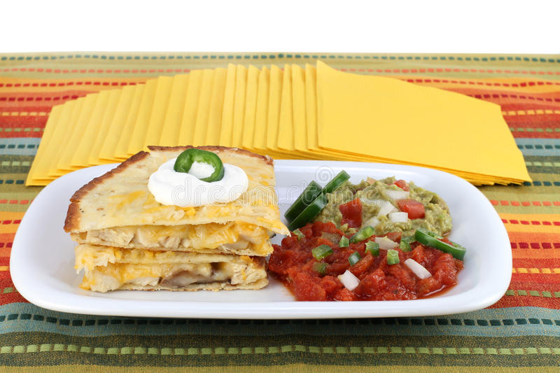 Chicken and cheese quesadilla stock photo